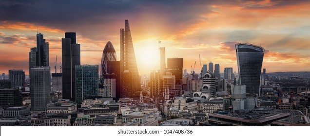 Sunrise over the City of London, United Kingdom