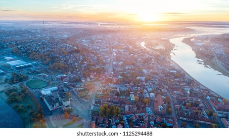 sunrise over city. morning landscape