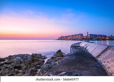 Sunrise over the City of Sliema on Malta