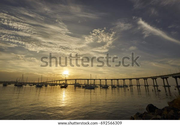 sunrise over Coronado Bay, San Diego, California welcomes a new day