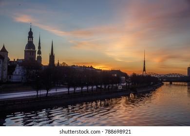 sunrise over the Daugava River Riga and above the old city
