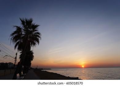 Sunrise over de Mediterranean, at Vilassar de Mar, Catalonia.