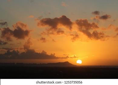 Sunrise over Diamondhead, Oahu, Hawaii