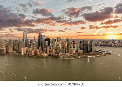 Sunrise over Downtown Manhattan New York City Aerial View