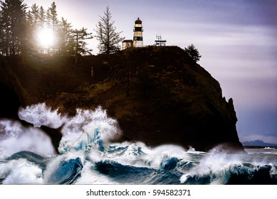 Sunrise over a Dramatic and Epic Seascape at Cape Disappointment