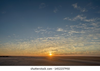 Sunrise over the dried up Lake Eyre in Australia.