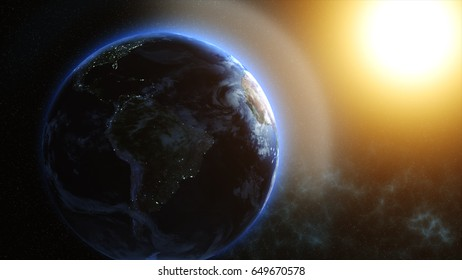Sunrise over the Earth. Imaginary view of planet earth in outer space with the rising sun.