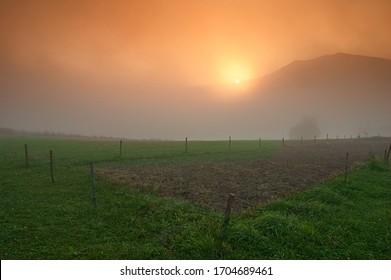 sunrise over the fields around Rytro
