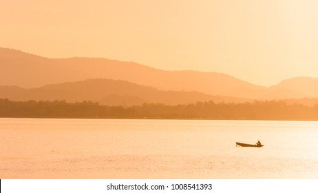 Sunrise over fisherman's lake, Pattaya Thailand