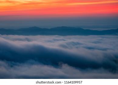 Sunrise over fog bank, Blue Ridge Mountains, North Carolina