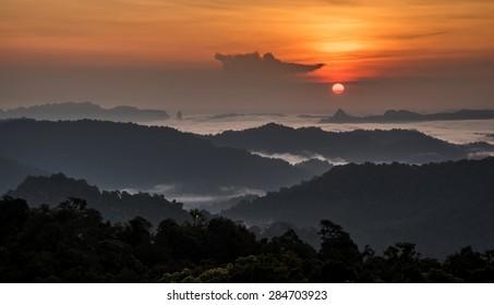 Sunrise Over fog sea at Phu tar Jor, Kapong,Phang Nga, Thailand