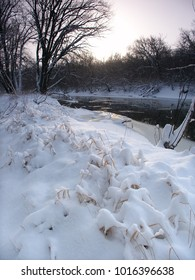 Sunrise over fresh snowfall at Blackhawk Springs Forest Preserve in northern Illinois