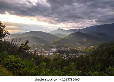Sunrise Over Gatlinburg, Tennessee. Misty morning sunrise over the mountain resort town of Gatlinburg Tennessee.