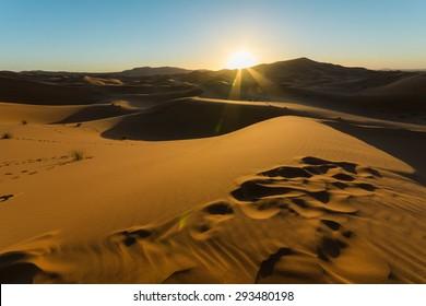 Sunrise over golden Sahara Desert in Morocco