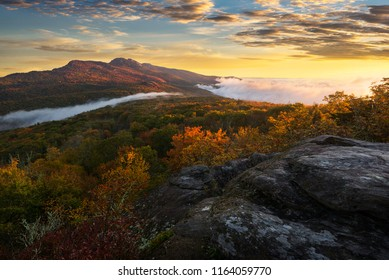 Sunrise over Grandfather Mountain along the Blue Ridge Parkway in North Carolina