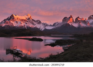Sunrise over Horns of Paine and Lake Pehoe, Torres del Paine National Park, Patagonia, Chile,