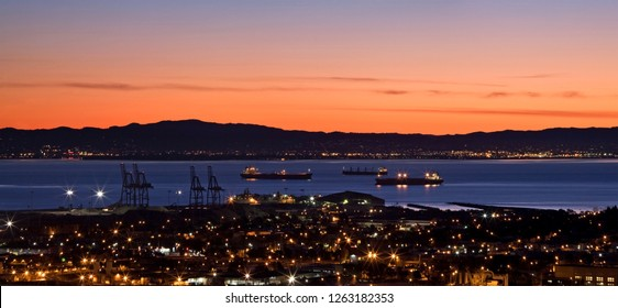 Sunrise over the Industrial Part of San Francisco Bay, California