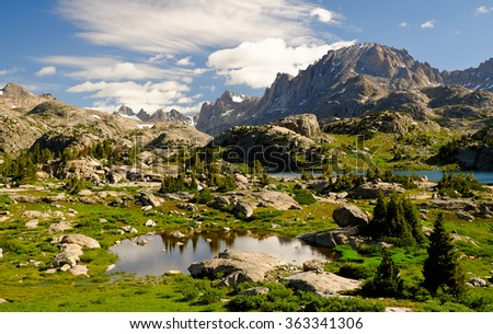Sunrise Over Island Lake and Fremont Peak.  The Wind River Range, Wyoming