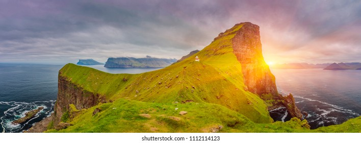Sunrise Over Kalsoy Island and Kallur lighthouse, Faroe Islands, Beautiful Panoramic Photo Of Nordic Islands