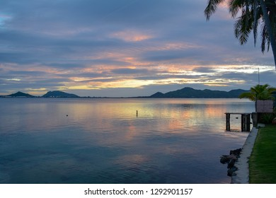 Sunrise over Kaneohe Bay on the tropical island of Oahu, Hawaii.