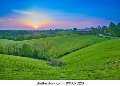 Sunrise Over Kentucky Farm