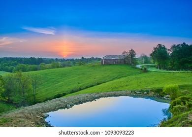 Sunrise Over Kentucky Farm with Pond