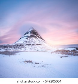 Sunrise over Kirkjufell mountain, Iceland