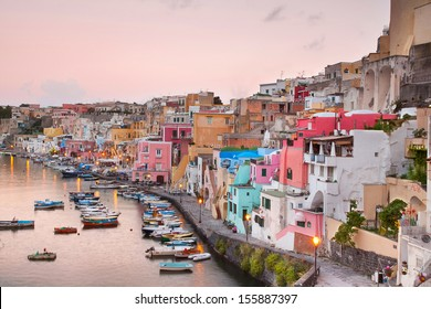 sunrise over La Corricella - small fishermanns village on the Island Procida near naples, italy