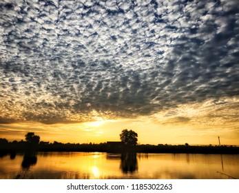 Sunrise over lake.