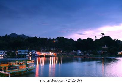 Sunrise over Lake Toba at Tomok in North Sumatra