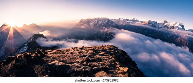 Sunrise over Les Écrins national park, French Alps. La Barre des Écrins in the middle background, La Meije is on the right.
