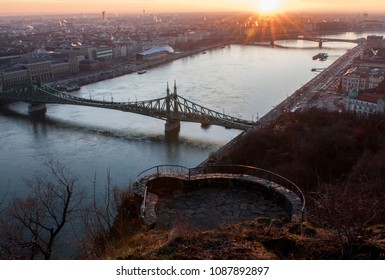 Sunrise over Liberty bridge in Budapest