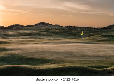 Sunrise Over the Links Golf Course at St Enodoc, Cornwall, UK.