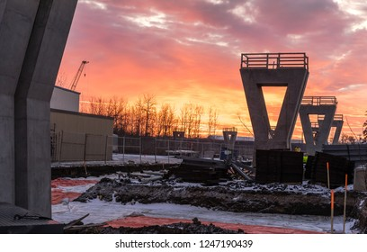 Sunrise over LRT construction  site in Edmonton