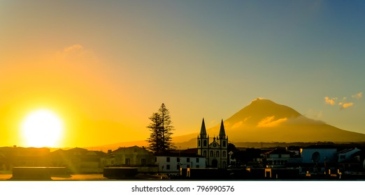 Sunrise over Madalena and Pico volcano and island at Azores, Portugal