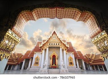 Sunrise over the Marble Temple in Bangkok [Bangkok, Thailand]