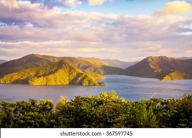 Sunrise Over Marlborough Sounds, New Zealand