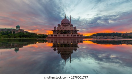 Sunrise over Masjid Putra, Putrajaya. One of the famous Mosque in Malaysia.