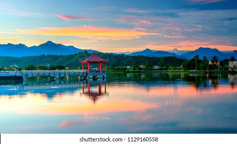 Sunrise over Meinong Lake, Kaohsiung, Taiwan