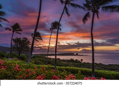 Sunrise over Menele Bay on the island of Lanai, Hawaii