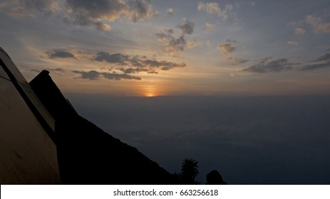 Sunrise over Mikeno Mountain, seen from the top of Nyiragongo Volcano, Democratic Republic of Congo