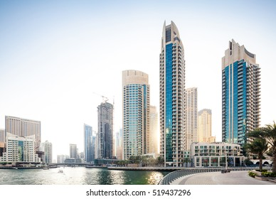 Sunrise over modern city skyline
