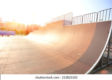 Sunrise over modern skate park