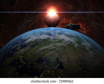 Sunrise over Moon with cargo ship over Earth in red system
