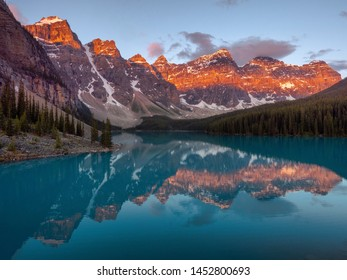 Sunrise over Moraine Lake in Banff National Park, Alberta, Canada