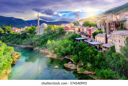 Sunrise over Mostar Old Town and Neretva river, Bosnia and Herzegovina
