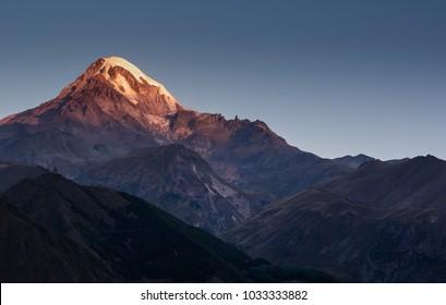 sunrise over Mount Kazbek, Caucasus Mountains, georgia