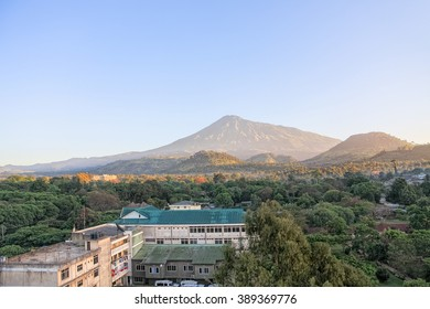 Sunrise over Mount Meru. Arusha, Tanzania.