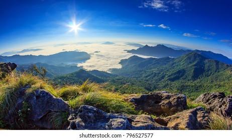 Sunrise over the mountain with fog