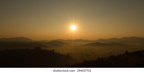 Sunrise over mountain, panoramic view